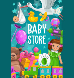 Kid toys shop baby games store bear doll vector