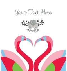 love card template two flamingo make heart shape vector image