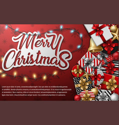 merry christmas typographical with different gift vector image