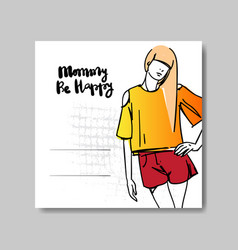 Mother day greeting card with beautiful female vector