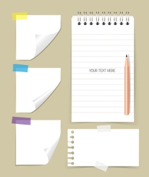 Note book and note papers with pencil Business vector image