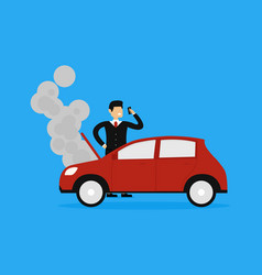 of businessman calling insurance company car vector image