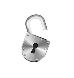Open vintage metal lock isolated on white vector