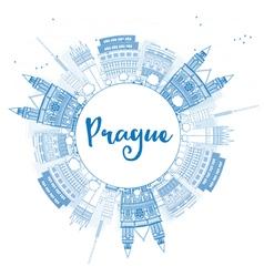 Outline prague skyline with blue landmarks vector