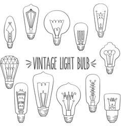 outline vintage light bulb vector image