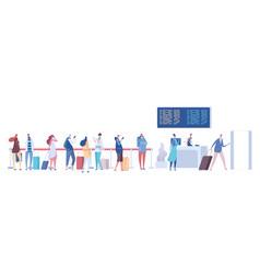 People in airport queue passengers baggage vector