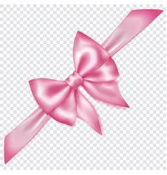 Pink bow with diagonally ribbon vector