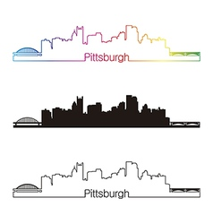 Pittsburgh skyline linear style with rainbow vector