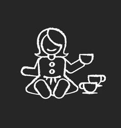 pretend kitchenware chalk white icon on black vector image