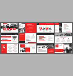red and white element for slide infographic on vector image