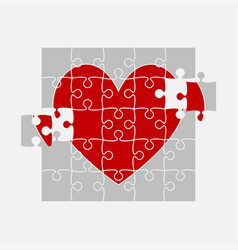 red pieces puzzle jigsaw on valentine day heart vector image
