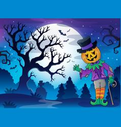 Scenery with halloween character 2 vector