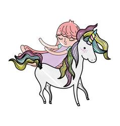 Scribbled cute sweet unicorn with girl sleeping vector