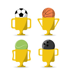 Set flat icon ball and trophy sport vector