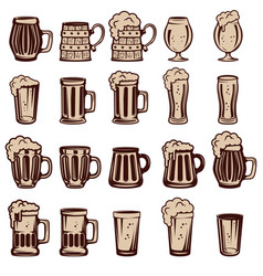 Set of beer mugs and glasses design elements for vector