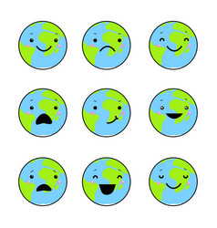set of emotions of the earth vector image