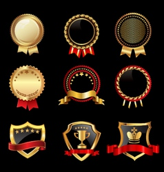Set of golden badges vector