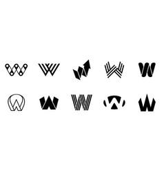 set of letter w logo vector image