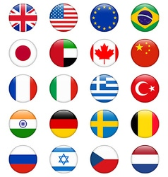 Set of popular country flags Glossy round icon set vector image