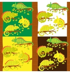 Set of seamless pattern with chameleons on the vector image