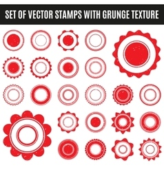 set red grunge stamp round shapes vector image