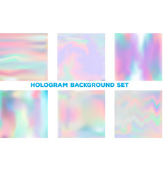 set with holographic backgrounds vector image