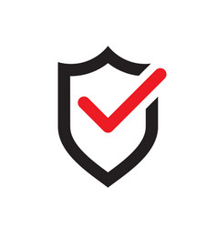 shield with red ok check mark - icon vector image