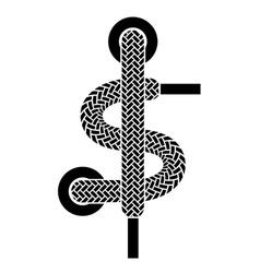 shoe lace american dollar symbol vector image