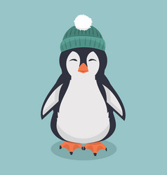 Smiling penguin with green hat cartoon vector