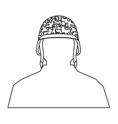 Soldier silhouette and helmet black and white vector