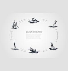 summer recreation - flyboarding water skiing vector image