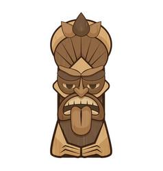Tiki idol tongue icon cartoon style vector