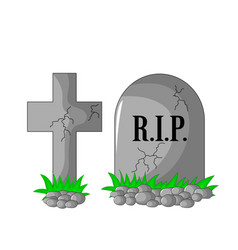 Tombstone rip and cross with stones and grass vector