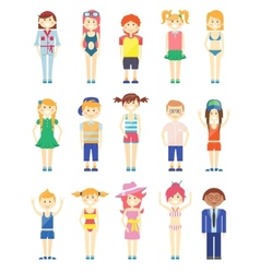 Various Smiling Boys and Girls Graphics vector image