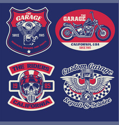 vintage badge set motorcycle concept vector image