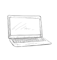 Workplace with handdrawn notebook vector image