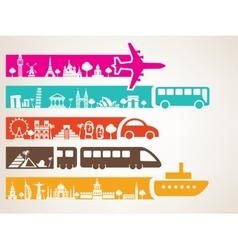 world travel by different kinds of transport vector image