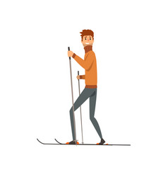 young man skiing sport and physical activity vector image
