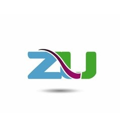 ZU negative space letter logo vector