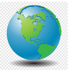 globe with wold map on transparency grid america vector image
