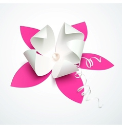 Pink cutout paper flower with pearl vector image