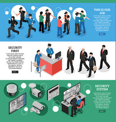 security isometric banners vector image vector image