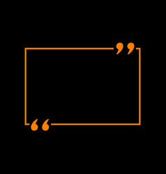 text quote sign orange icon on black background vector image