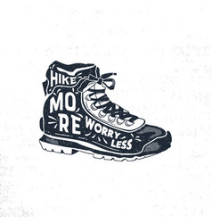 vintage hand drawn hiking boots footwear t shirt vector image vector image