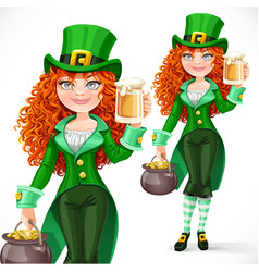 Beautiful girl leprechaun with pot of gold offers vector image