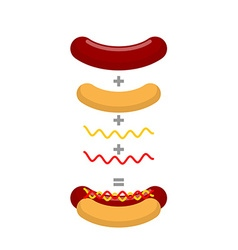 Recipe for hot dog Production of hot dogs vector image vector image