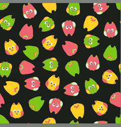 seamless cute cartoon owls birds pattern on a vector image
