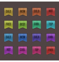 Set of 16 quality textured ribbons vector image