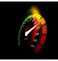 Speedometer with speed fire path vector image