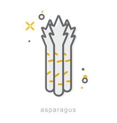 Thin line icons asparagus vector